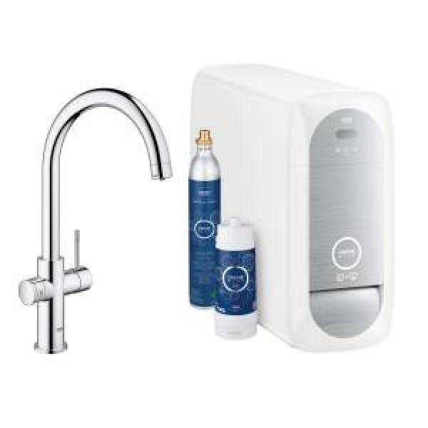 Смеситель для кухни GROHE Blue Home с функциями фильтрации, охлаждения и газирования водопроводной воды (фильтр в комплекте), хром (31455000)